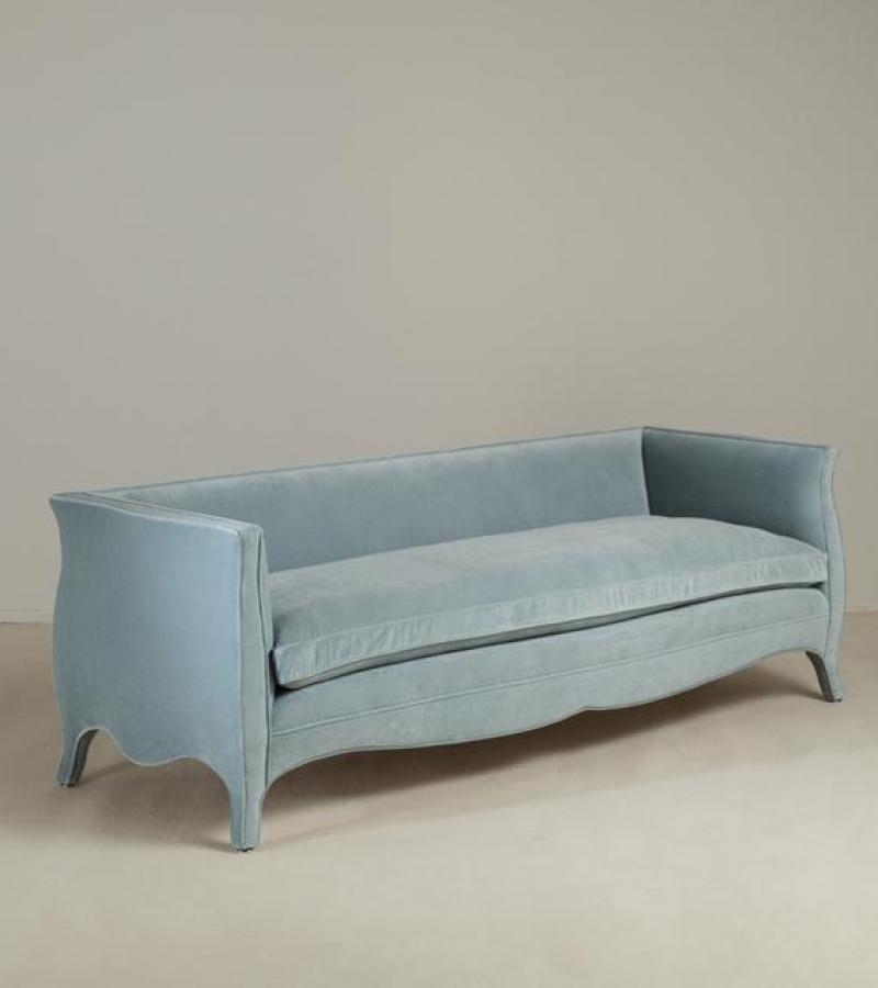 A Standard High Back French Style Powder Blue Velvet Upholstered Sofa by Talisman Bespoke