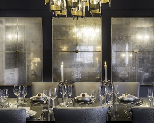 Decorum Est Silver eglomise panels with antique gold frames and medallions