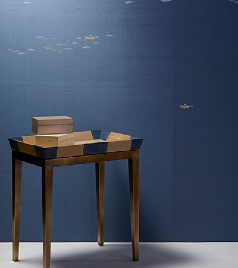 Sardines on Silk Wallcovering with the Raya Tray Table in Shagreen and Antique Brass